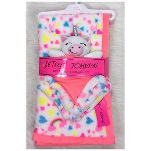 Betsey Johnson Unicorn Baby Blanket Snuggle Toy